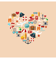 heart from summer icons color vector image vector image
