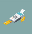 isometric pos terminal and the payment by debit vector image