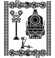 large set railway stencils locomotive vector image