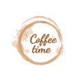 light brown handwritten lettering coffee time as vector image vector image