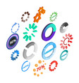 loading icons set isometric 3d style vector image