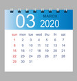 march 2020 monthly calendar template 2020 vector image