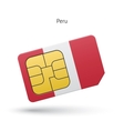 Peru mobile phone sim card with flag vector image vector image