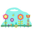 plants growth in garden beautiful flowers blossom vector image