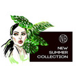 poster of new summer collection with fashion girl vector image vector image
