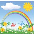 Rainbow Spring Meadows vector image vector image