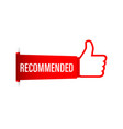 recommend icon white label recommended on red vector image vector image