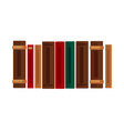 row of books with brown red and green covers vector image vector image