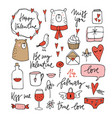 set cute valentines doodle sketches wedding vector image