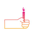 silhouette hand with candle fire decoration design vector image vector image