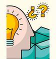 silhouette man head bulb idea questions vector image vector image