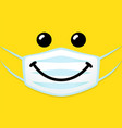 smile icon template design in medical mask vector image