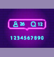 social network notification neon icon pack set vector image