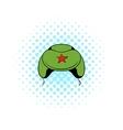 Soviet military cap earflaps icon comics style vector image