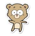 sticker of a anxious bear cartoon