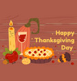 thanksgiving wooden banner with pie and pumpkin vector image