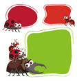 three border template with cute bugs vector image