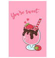 valentine s day card with strawberry cocktail vector image