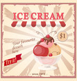 vintage banner with current ice cream vector image vector image