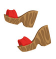 1970s style clog shoes pair high heel womens vector image vector image