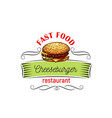 appetizing cheeseburger for fast food design vector image