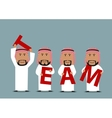Arab businessmen creating a word Team vector image vector image