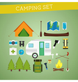 Bright cartoon camping equipment icon set in vector image