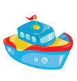 cartoon boat on white background a toy ship vector image vector image