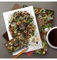 Cartoon cute hand drawn doodles Coffee vector image