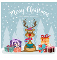 christmas card with cute reindeer and gift boxes vector image