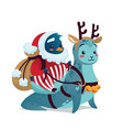 christmas characters cute penguin in costume of vector image vector image