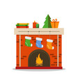 christmas fireplace icon flat vector image vector image
