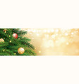 christmas tree with gold blur bokeh lights vector image