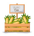 colorful background with wooden box with organic vector image