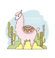 cute cartoon lama alpaca hand drawn vector image vector image