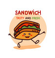 cute cartoon sandwich logo vector image