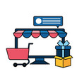 desktop computer with tent and shopping cart vector image vector image
