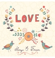 Elegant love card with birds and floral wreath vector image