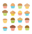 flat icons of chocolate and fruit muffins vector image vector image