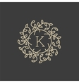 Floral monogram design template with letter K vector image