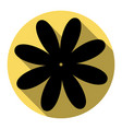 flower sign flat black icon vector image vector image