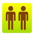 gay family sign brown icon at green vector image