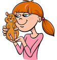 girl with hamster cartoon vector image vector image