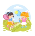 Girls playing tennis vector image vector image