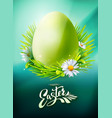 green easter egg poster on blue vector image vector image