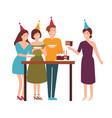 group cute joyful people cutting tasting vector image vector image