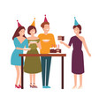 group of cute joyful people cutting tasting vector image