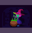 halloween witch and black cat vector image