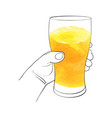 hand with glass for beer vector image vector image