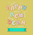 happy new year 2018 sweet donuts and banner vector image vector image